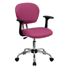 Mid-Back Pink Mesh Padded Swivel Task Office Chair with Chrome Base and Arms