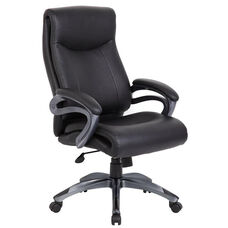 Double Layer Executive Chair with Pillow Top and Padded Armrests - Black