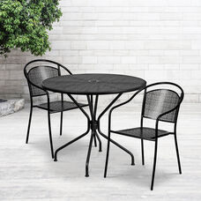"Commercial Grade 35.25"" Round Black Indoor-Outdoor Steel Patio Table Set with 2 Round Back Chairs"