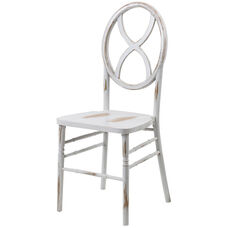 Veronique Series Stackable Sand Glass Wood Dining Chair - Lime White Wash