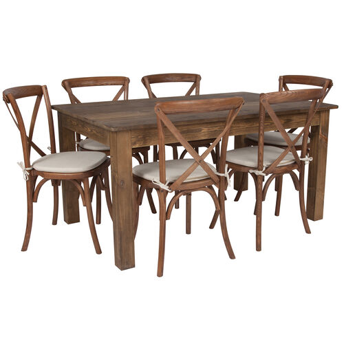 "Our 60"" x 38"" Antique Rustic Farm Table Set with 6 Cross Back Chairs and Cushions is on sale now."