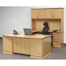 OSP Furniture Mendocino Hardwood Veneer U-Shaped Desk with Hutch
