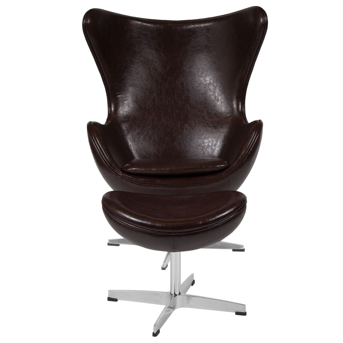 Peachy Brown Leather Egg Chair With Tilt Lock Mechanism And Ottoman Ibusinesslaw Wood Chair Design Ideas Ibusinesslaworg
