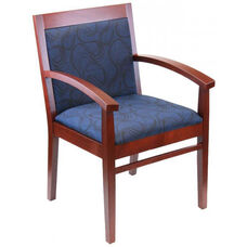 Tea Indoor Office Chair with Blue Pattern Fabric Seat and Back - Mahogany Wood Finish
