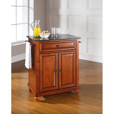 Solid Black Granite Top Portable Kitchen Island with Cambridge Feet - Classic Cherry Finish
