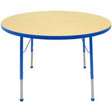 Adjustable Standard Height Laminate Top Round Activity Table - Maple Top with Blue Edge and Legs - 48