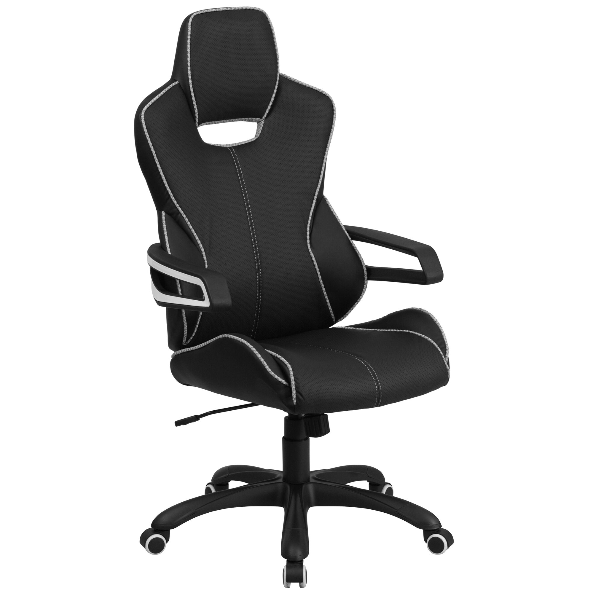 Sensational High Back Black Vinyl Executive Swivel Office Chair With White Trim And Arms Onthecornerstone Fun Painted Chair Ideas Images Onthecornerstoneorg