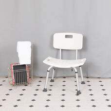 HERCULES Series Tool-Free and Quick Assembly, 300 Lb. Capacity, Adjustable White Bath & Shower Chair with Back