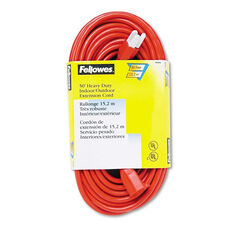 Fellowes® Indoor/Outdoor Heavy-Duty 3-Prong Plug Extension Cord - 1-Outlet - 50ft - Orange