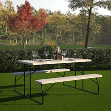 Insta-Fold White Wood Grain Folding Picnic Table and Benches - 4.5 Foot Folding Table