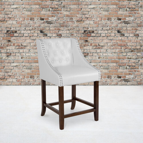 """Carmel Series 24"""" High Transitional Tufted Walnut Counter Height Stool with Accent Nail Trim in White LeatherSoft"""