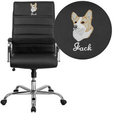Embroidered High Back Black Leather Executive Swivel Chair with Chrome Base and Arms