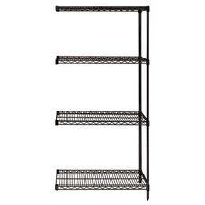 Black Wire Shelving 4-Shelf Add-On Units 36