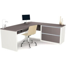 Connexion Reversible L-Shaped Workstation with File Drawers and Keyboard Drawer - Sandstone and Slate