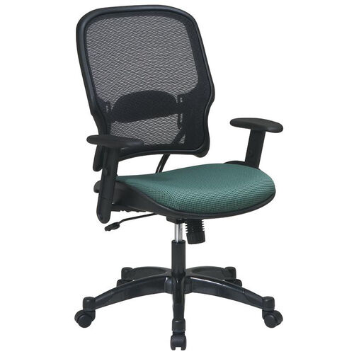 Space 1587C Professional Air Grid Back Managers Chair with Fabric Seat and Adjustable Arms