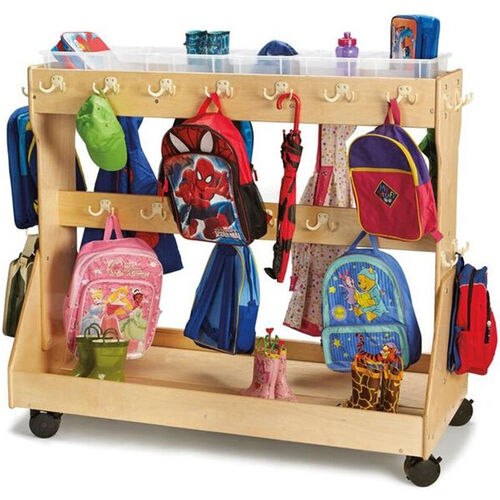 Our Mobile Wooden Backpack Cart with 6 Clear Plastic Storage Trays - 55