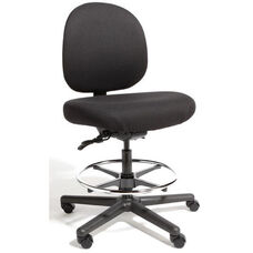 Triton Max Large Back Mid-Height Drafting Cleanroom ESD Chair with 500 lb. Capacity - 4 Way Control - Black Vinyl