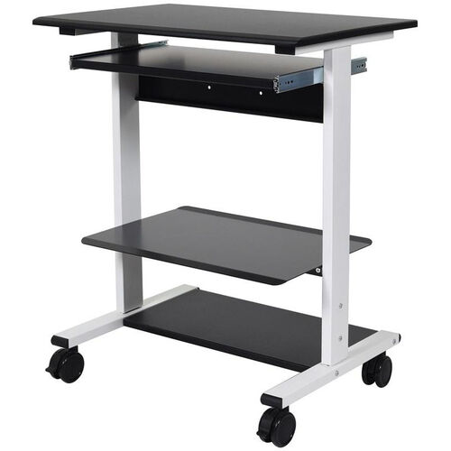 Our Adjustable Height Mobile Stand-Up Workstation with 3 Shelves and 1 Slide-Out Keyboard Shelf - 29.5