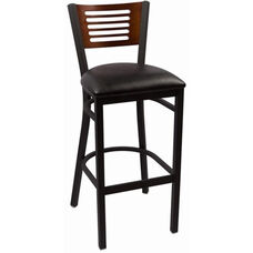 Jones River Series Wood Back Armless Barstool with Steel Frame and Vinyl Seat - Walnut