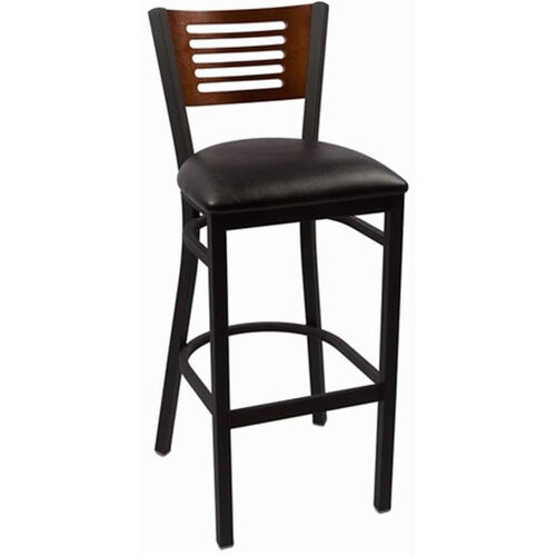 Our Jones River Series Wood Back Armless Barstool with Steel Frame and Vinyl Seat - Walnut is on sale now.