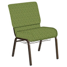 Embroidered 21''W Church Chair in Optik Olive Fabric with Book Rack - Gold Vein Frame