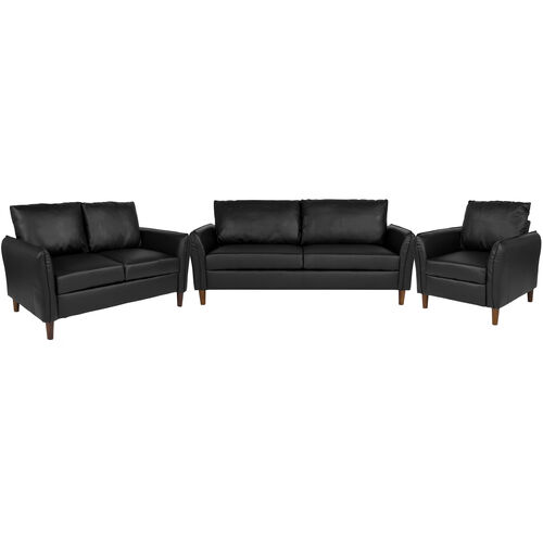 Milton Park Upholstered Plush Pillow Back Chair, Loveseat and Sofa Set in  Black Leather