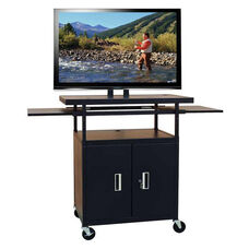 Black Height Adjustable Wide Body Flat Panel TV Cart with Two Door Locking Cabinet and Two Pull-Out Side Shelves - 40