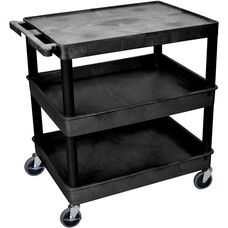 Heavy Duty Multi-Purpose Large Mobile Utility Cart with 1 Flat Top Shelf and 2 Tub Shelves - Black - 32