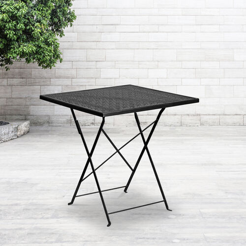 "Our Commercial Grade 28"" Square Indoor-Outdoor Steel Folding Patio Table is on sale now."
