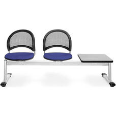 Moon 3-Beam Seating with 2 Royal Blue Fabric Seats and 1 Table - Gray Nebula Finish