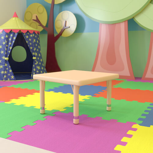 """24"""" Square Natural Plastic Height Adjustable Activity Table"""