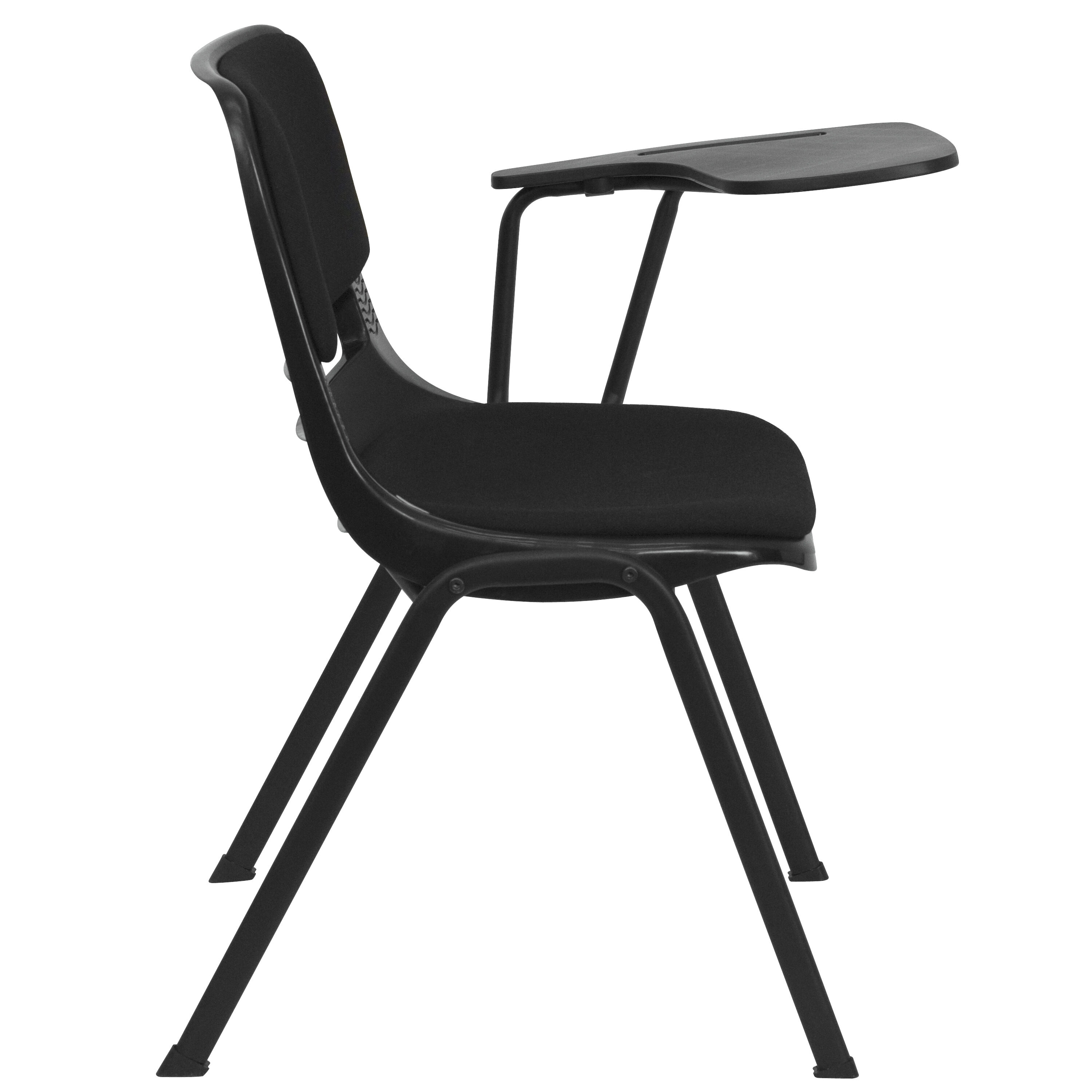... Our Black Padded Ergonomic Shell Chair With Left Handed Flip Up Tablet  Arm Is On ...