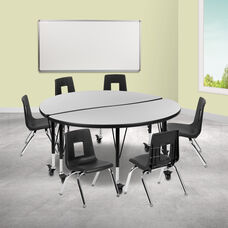 "Mobile 47.5"" Circle Wave Collaborative Laminate Activity Table Set with 14"" Student Stack Chairs, Grey/Black"
