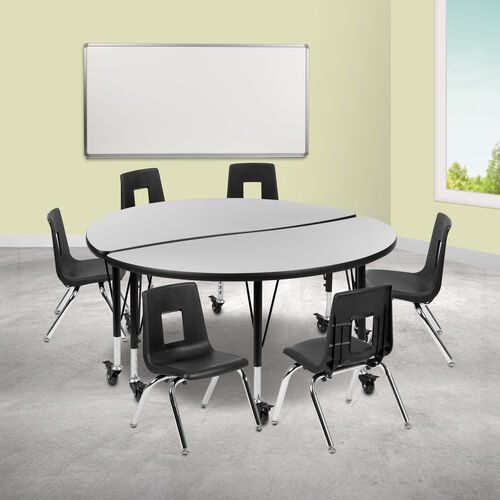 """Our Mobile 47.5"""" Circle Wave Collaborative Laminate Activity Table Set with 14"""" Student Stack Chairs, Grey/Black is on sale now."""