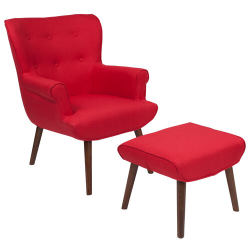Our Bayton Upholstered Wingback Chair with Ottoman in Red Fabric is on sale now.