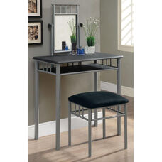 Silver Metal 2 Piece Vanity Set Faux Marble Top - Black