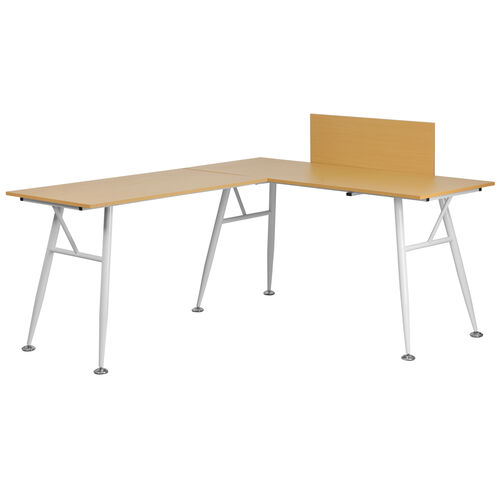 Our Beech Laminate L-Shape Computer Desk with White Metal Frame is on sale now.