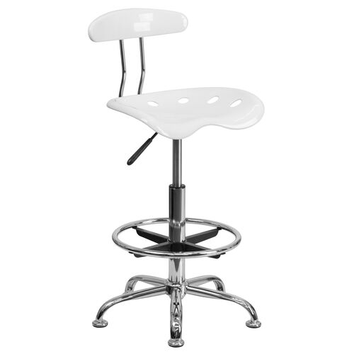 Our Vibrant White and Chrome Drafting Stool with Tractor Seat is on sale now.