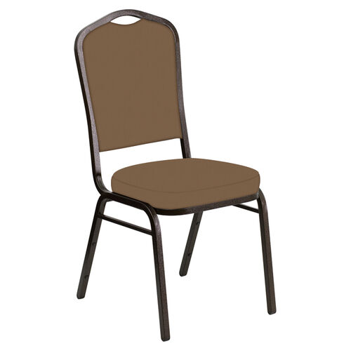 Our Embroidered Crown Back Banquet Chair in E-Z Wallaby Taupe Vinyl - Gold Vein Frame is on sale now.
