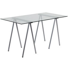Glass Computer Desk with Silver Metal Frame