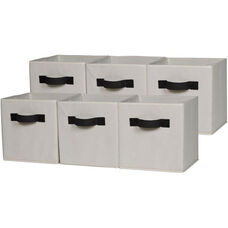 OneSpace Foldable Cloth Storage Cube Set - Set of 6 - Beige