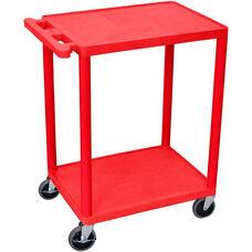 2 Shelf Structural Foam Plastic Utility Cart - Red - 24