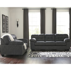 Signature Design by Ashley Accrington Living Room Set in Granite Microfiber