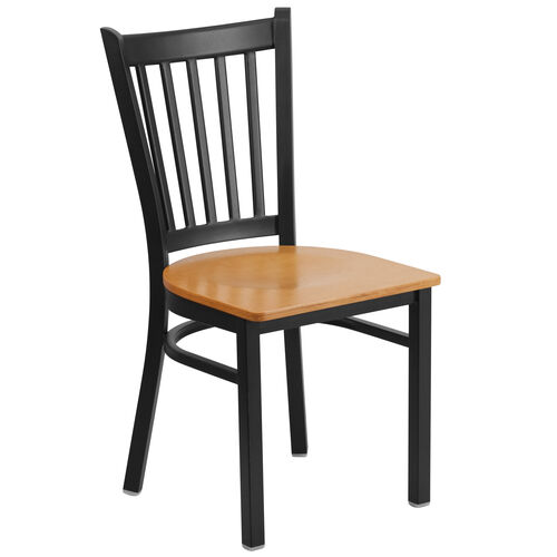 Our Black Vertical Back Metal Restaurant Chair with Natural Wood Seat is on sale now.