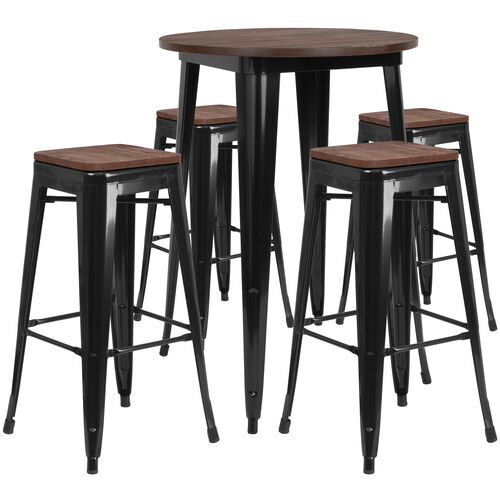 """Our 30"""" Round Metal Bar Table Set with Wood Top and 4 Backless Stools is on sale now."""