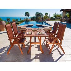 Malibu 5 Piece Outdoor Wood Dining Set with Curvy Leg Table and 4 Reclining Armchairs