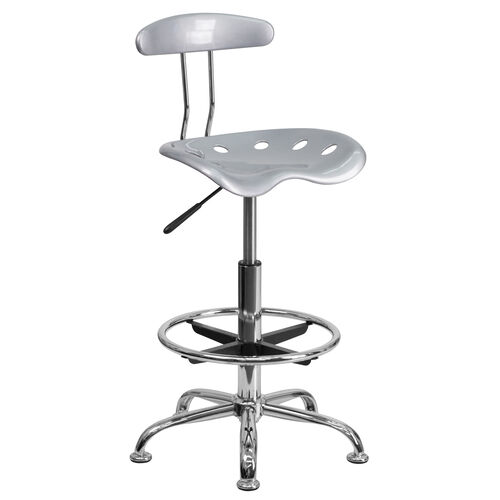 Our Vibrant Silver and Chrome Drafting Stool with Tractor Seat is on sale now.