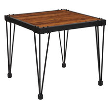 Baldwin Collection Rustic Walnut Burl Wood Grain Finish Side Table with Black Metal Legs