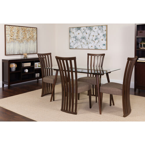 """Our Lakewood 5 Piece 31.5"""" x 55"""" Rectangular Glass/Espresso Wood Table Set with Dramatic Rail Back Design Wood Dining Chairs - Padded Seats is on sale now."""