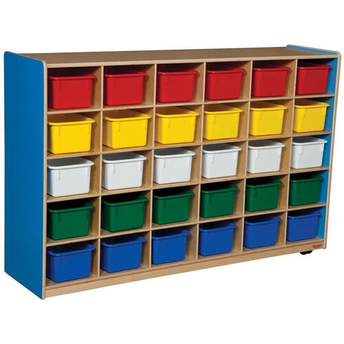 Wooden Storage Unit with 30 Assorted Plastic Trays - Blueberry - 58